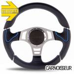 Momo Millenium Sport Black Leather Steering Wheel with Blue Detail