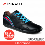 Piloti Circuit Driving Shoes Black Leather with Racing Stripe