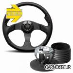 Momo Jet Black Leather Steering Wheel with Carbon Inserts & Hub Kit to fit Land Rover Defender