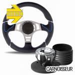 Momo Millenium Sport Black Leather Steering Wheel with Blue Detail & Hub Kit to fit Land Rover Defender