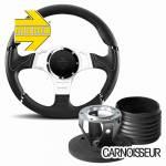 Momo Millenium Sport Black Leather Steering Wheel with Grey Detail & Hub Kit to fit Land Rover Defender