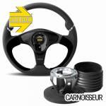 Momo Nero Black Leather and Alcantara Steering Wheel & Hub Kit to fit Land Rover Defender