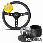 Momo Heritage Prototipo Black Leather Steering Wheel with Black Spokes & Hub Kit to fit Porsche 911 Classic (63-89)