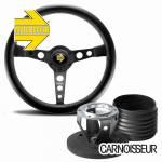Momo Prototipo Black Leather Steering Wheel with Black Spokes & Hub Kit to fit Porsche 911 Classic (63-89)