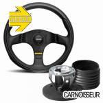 Momo Team Black Leather Steering Wheel & Hub Kit to fit Ford Fiesta