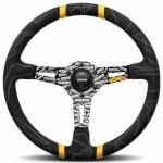 Momo Ultra Black Alcantara Steering Wheel with Yellow Insert