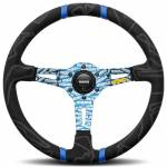 Momo Ultra Black Alcantara Steering Wheel with Blue Insert