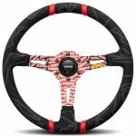 Momo Ultra Black Alcantara Steering Wheel with Red Insert